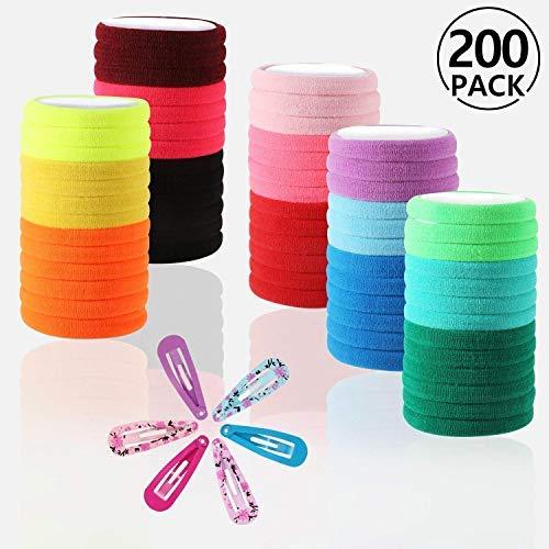 s, PAMIYO Mehrfarbig Mini Haarband Elastische Haargummi, winzige Weiche Haargummis für Kleinkind Baby Kinder mit 12 Stück Haarspangen (Mehrfarbig) ()