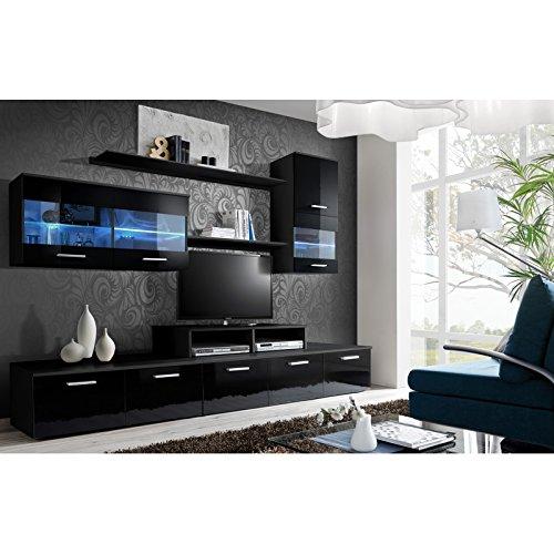 Ensemble meuble TV mural - LOGO II - 250 cm x 180 cm x 45 cm - Noir