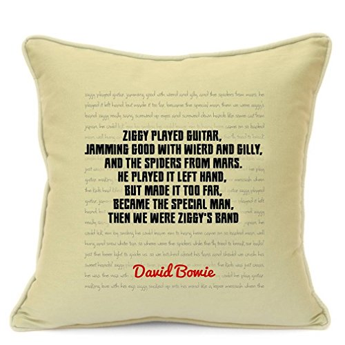 David Bowie Song Lyrics Quotes Cotton Pillow Cushion Cover for Sofa 18 inch 45 cm Presents Gifts For Friends Family Him Her Girlfriend Boyfriend Gift Home Decor Living Room