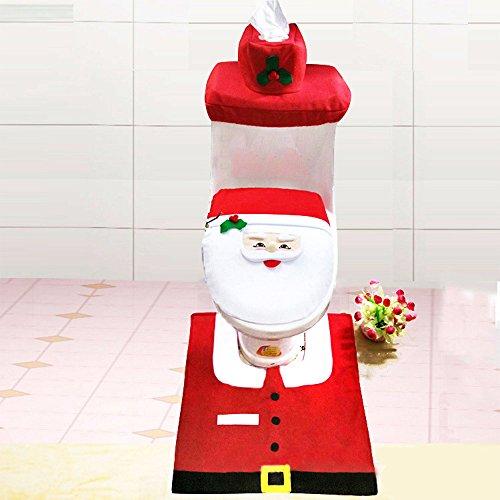 Glantop nuovo Sedile WC, Pupazzo di neve, Babbo Natale e tappeto per bagno decorazioni di Natale Set di 4