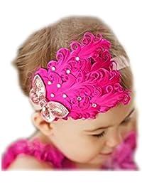 Bébé fille infantile arc, fascinator Strass plume de paon bandeau bandeau accessoires pour cheveux fleur papillon rose chaud