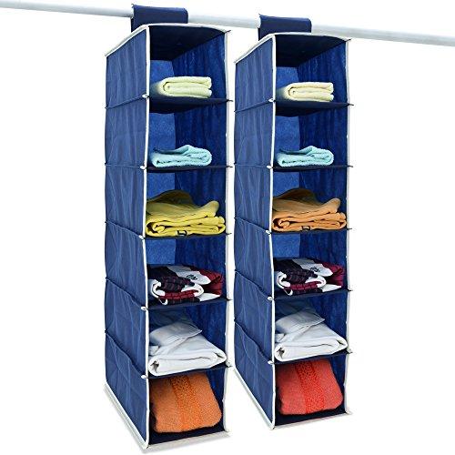 2x Hängeaufbewahrung Kleiderschrank Hängeregal I 6 Fächer I 80x15x30cm I Faltbar I Blau Weiß Utensilo Organizer Schrank -