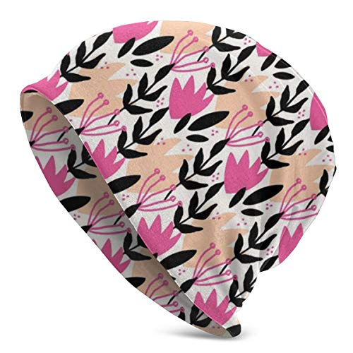 ORANGEW Top Level Beanie Men Women - Cute Creative Nature Inspired Pattern with Botanical Motifs - Unisex Cuffed Plain Skull Knit Hat Cap