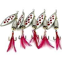HENGJIA 10 unidades Trucha Perca Spinner señuelo de Pesca Plumas Anzuelo swimbait Hard baits Cebos de cucharilla Fishing tackle 8cm 12,5g