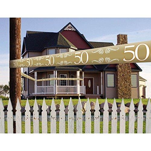 Absperrband '50' gold 15 Meter (Partyartikel In Der Masse)