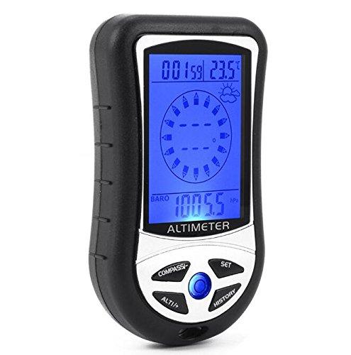 BW 8-in-1-Gerät, Digitaler Kompass, Altimeter, Barometer,Thermometer, mit LCD-Display, Schwarz
