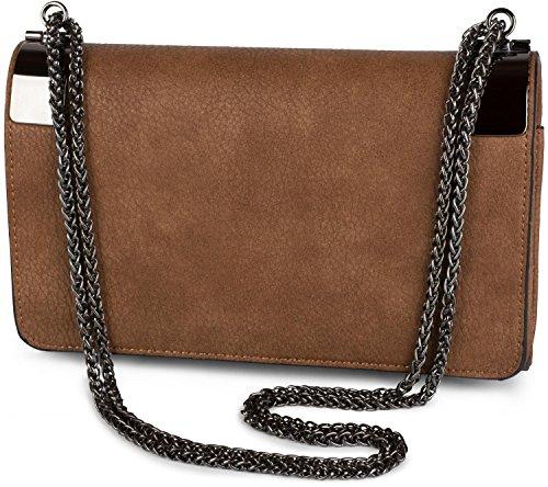 styleBREAKER clutch, borsetta da sera con fermagli metallici e catena scorrevole, design vintage, donna 02012046, colore:Marrone Marrone rossiccio
