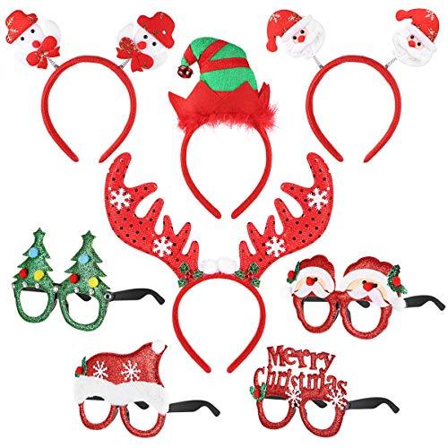 NUOBESTY Weihnachten Kostüm Stirnbänder mit Brille Set