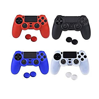 Asiv Soft Silicone Skin Cover protective for PS4 controller x 4 (black + Red + Blue + White) + Thumb Grips Attachments x 8