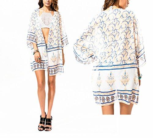 Kimono Chiffon Bluse Strandkleider , Chickwin Chiffon Kimono Cardigan Blumen Bikini Cover up Sommer Swim Bluse Tops (I) (Cover Up Frottee-kleid)