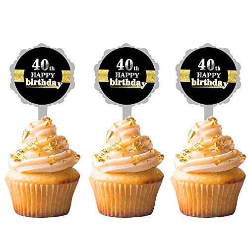 tion zum 40. Geburtstag, Hello 40, Kuchendekoration, Dekoration für 40. Geburtstag, Hochzeit, Jahrestag, Party, Dekoration, Ideen, 12 Stück ()