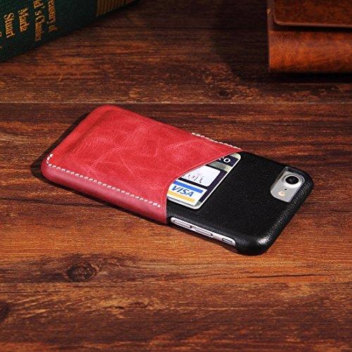 Für iPhone 7 echtes Rindslederfarben-zusammenpassender harter rückseitiger Abdeckungs-Fall mit Einbauschlitz by diebelleu ( Color : Brown ) Wind red
