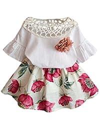 Vestido de Niña Switchali Recién nacido Niños Bebé Chicasmoda ropa Manga corta Shirt + Conjunto de falda de flores Conjunto de vestidos de verano
