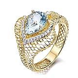 KnSam Fineschmuck 18k Gold Damen-Ring Echt Saphir 1.46 Karat Trauringe Eheringe Hochzeit Verlobung für Frauen Größe 48 (15.3)