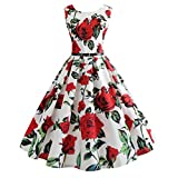 Vectry Kleider Damen Neckholder Rockabilly 50er Vintage Retro Kleid Petticoat Faltenrock Sommer Jumpsuit Kurz Ballkleid Kleiderbügel Damenkleider Kurz Hepburn Kleid