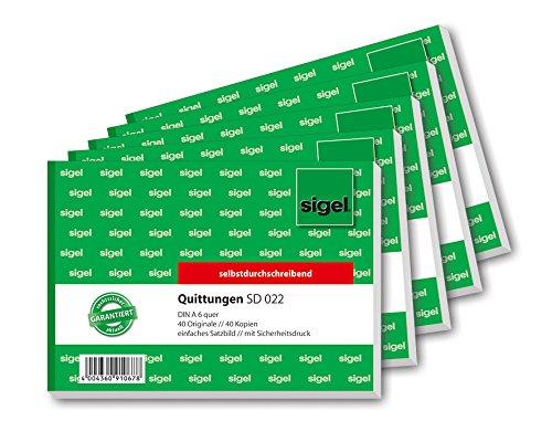 Sigel SD022 Quittungsblock A6 quer, 2x40 Blatt, selbstdurchschreibend, 5er Pack