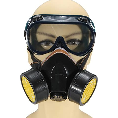 SODIAL(R) Anti-Polvo spray de gas quimico Dual Cartridge Respirator Paint Filter Gafas Mascara