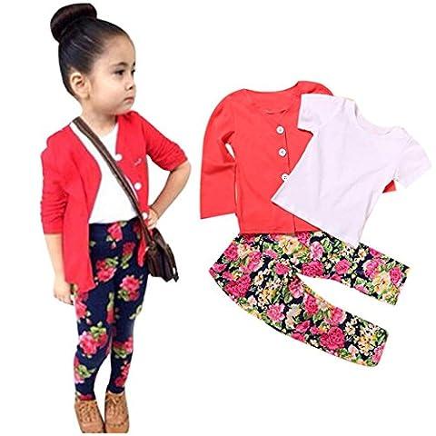 1 PCS Bambin Filles Mignonne Vêtements, Famille T-shirt à Manches Longues Tops + Manteau + Pantalon (4Ans, Rouge)