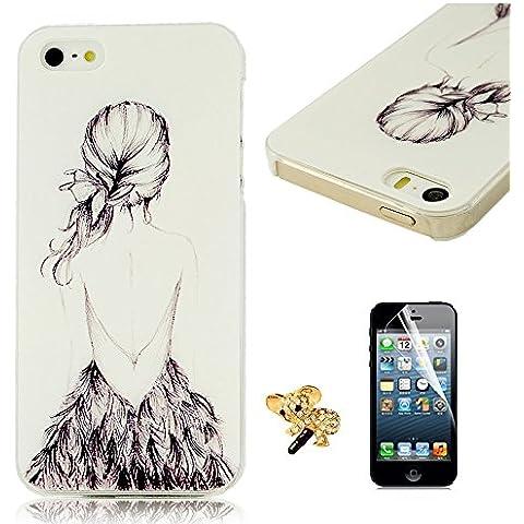 BestCool 3in1 Teléfono Accesorios - Elegante Funda Dura para iPhone 5 5S 5G Diseño Sketch Chicas Protective Case Cover + Protectores de Pantalla & 3.5mm Bling Cristal Diamante Koala enchufe anti del