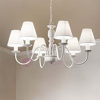Fiammingo sospensione lampadario 6 luci bianco opaco con paralumi bianchi d 74 cm 6xe14 stile - Amazon lampadario camera da letto ...