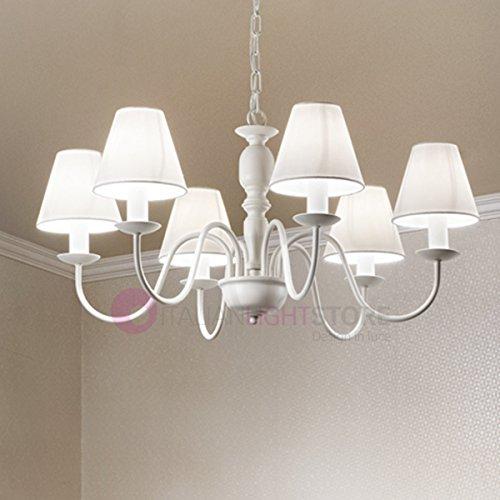 Fiammingo sospensione lampadario 6 luci bianco opaco con paralumi bianchi d. 74 cm. 6xe14 stile provenzale classico rustico country shabby chic