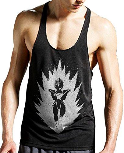 Stylotex Stringer Tank Top Saiyan Fitness Gym Shirt Supercool-Material mit Feuchtigkeitsregulierung, Farbe:schwarz;Größe:L - Gym Dbz Tank
