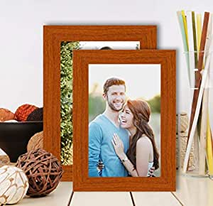Art Street - Set of 2 Wall and Table Top Photo Frames Perfect for Family Office Table Decorations(2 Units of 4x6) -Brown MDF