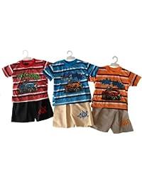 Kinder T-Shirt Bermuda Set, T-Shirt mit Druck, Bermuda mit Stickerei & Gummizug, Farben Blau/Beige, Rot/Schwarz, Orange/Khaki, Größen 106/112, 116/122, 128/134