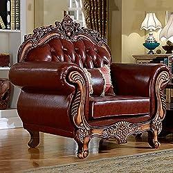 DNNAL Sofa de CueroNuevo sofá Individual Juego de sofás de Cuero Genuino de Alto Grado Adecuado para Villas y Salas de Estar