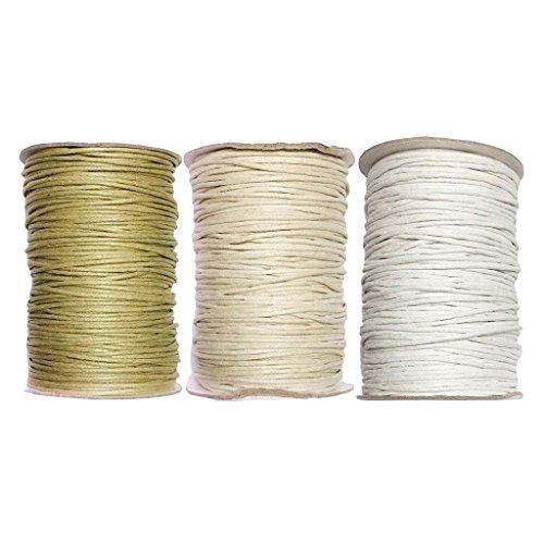 Homyl 3 Rollen Baumwollband Bastelschnur 1,5 MM Baumwollschnur Schmuckband Baumwollkordel Schmuckdrähte Wachsschnur für DIY Armband Halskette - Farbe 9