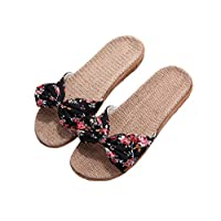 House Shoes with Arch Support for Women, Flax Indoor Shoes Non-Slip Sandals Sole for Women Girls Ladies Black 39-40