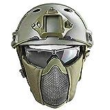 Cascos tácticos Airsoft Paint Ball Casco, Gafas Máscara de Malla de Acero CS Juego de Juegos Equipo de protección Equipo de protección Accesorios de película Selva Oculta Camuflaje Cosplay 8 Colores