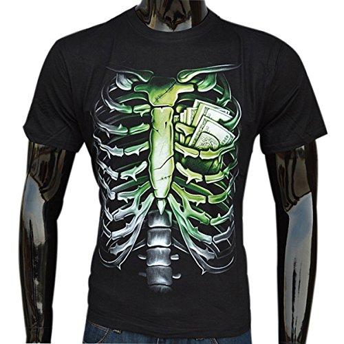 AIVTALK Herren T-Shirt Mit Rundhalsausschnitt Für Sport Und Freiheit Schädel Shirt Drucken T-Shirts Männer Kurzarm Slim Fit 3D Digital Shirts Hip-Hop Stil Tees Skelett Asiatische Größe Schwarz - XL
