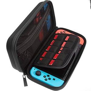 ButterFox Deluxe Nintendo Switch Reisetasche Tasche mit Ablageraum für offizielles Netzteil und 9 Game Card Slots – 【 Schwarz】Genügend Platz für Nintendo Switch-Netzteil, Joy-Con-Controller, Joy-Con-Handgelenksschlaufen, Kabel.