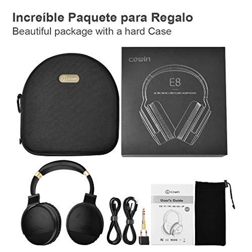 COWIN E8 Active Cancelación de Ruido Auriculares Auriculares Bluetooth con Micrófono Hi-Fi Auriculares Inalámbricos Bajo Sobre Sonido Estéreo de Oído 20 Horas de Tiempo de Juego para Trabajo de Viaje TV Teléfono de la Computadora - Negro