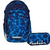 Satch Match - 2tlg Schulrucksack Set - Schulrucksack + Schlamperbox (Blue Crush)