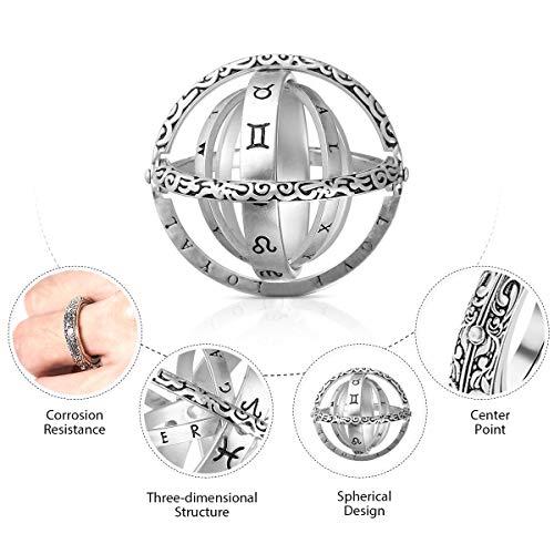 GEMITTO Astronomischer Fingerball -Ring Deutscher Retro Ball Flip Deformation kosmischer Ring Paar kreativer Ring Beschriftung (Material Silber) - (Farbe Vintage Silber) #10 (Beschriftungen Anzeigen)