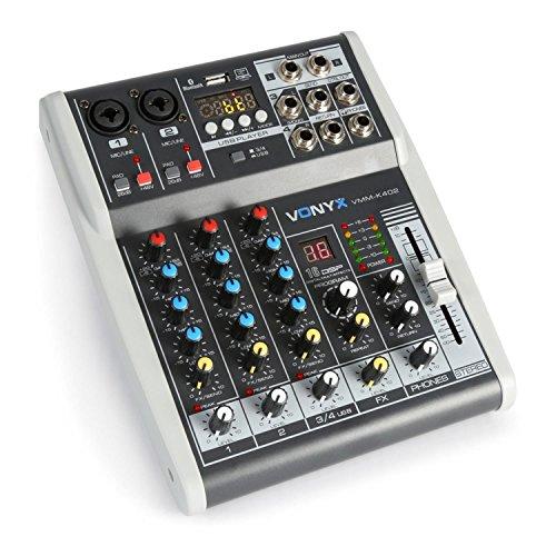 Vonyx VMM-K402 • Music Mixer 4 Canali • Bluetooth • USB-Audio-Interface • LED VU Meter e Peak LED • Uscita cuffie • 2 x ingressi Mono Microfono/Line (Combo XLR/jack da 6,3 mm)