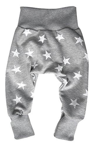 Wollhuhn ÖKO Warme, lässige Pumphose Sweat Stars grau/weiß für Jungen und Mädchen (aus Öko-Stoffen, bio), 20160309, Größe: 62 (ca. 3-6 Monate)