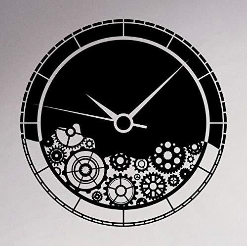 zhuziji Mecanismo del Reloj Etiqueta de la Pared Engranajes Rueda Dentada Pegatina de Vinilo Interior del hogar Decoración Retro M58x58cm