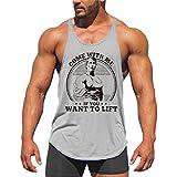YeeHoo Herren Tank top Y-Back Muskelshirt Trägershirt Unterhemd Stringer Druck für Gym Fitness & Bodybuilding