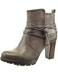 Sopily - Chaussure Mode Bottine Low boots Montante femmes Peau de serpent multi-bride corde Talon haut bloc 8 CM - Gris