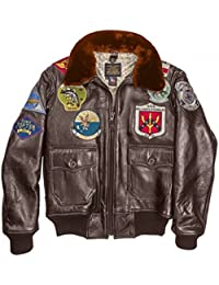 Blouson Aviateur En Cuir Top Gun NAVY G-1 COCKPIT USA ex AVIREX MADE IN b39f2b9589b2