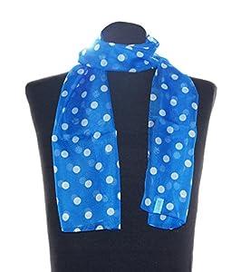 Blau weiß gepunktetes Halstuch Conny, ca. 36 x 160 cm, flottes Damen Schaltuch weiß gepunkteter Schal im 50er Jahre Look