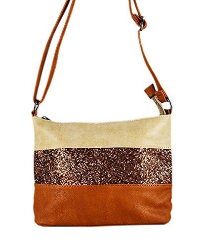Gallantry -Sac bandoulière / sac porté épaule / sac paillettes femme / Sac Strass (Beige/Camel)