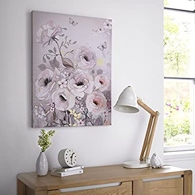 SALE Watercolour Glitter Bloom Printed Canvas Wall Art Was £30 Now £15 - inexpensive UK light shop.