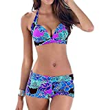 HuaMore Damen Plus Size Schwimmen Split Badeanzug Bademode Push Up Beach Bikini Sets