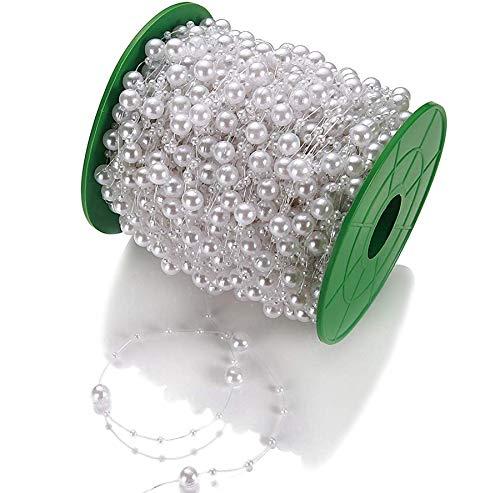 Perlengirlande Perlenband Weiß 75 Meter I Glänzend I Perlen Girlande für Hochzeit I Perlenschnur Tisch Deko Perlenkette Hochzeitsdeko (Hochzeitstisch Dekoration)