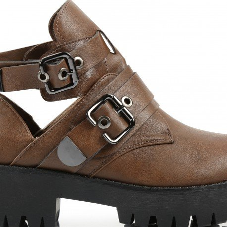 Ideal Shoes - Bottines ouvertes style grunge Poppy Marron