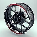 Felgenaufkleber Set Honda Fireblade für Motorrad | 17 Zoll | Felgenrandaufkleber & Felgenbettaufkleber | Vorder- & Hinterreifen Komplett-Set (Einfach - glänzend)